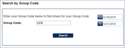 Blood Drive Group Code Selection