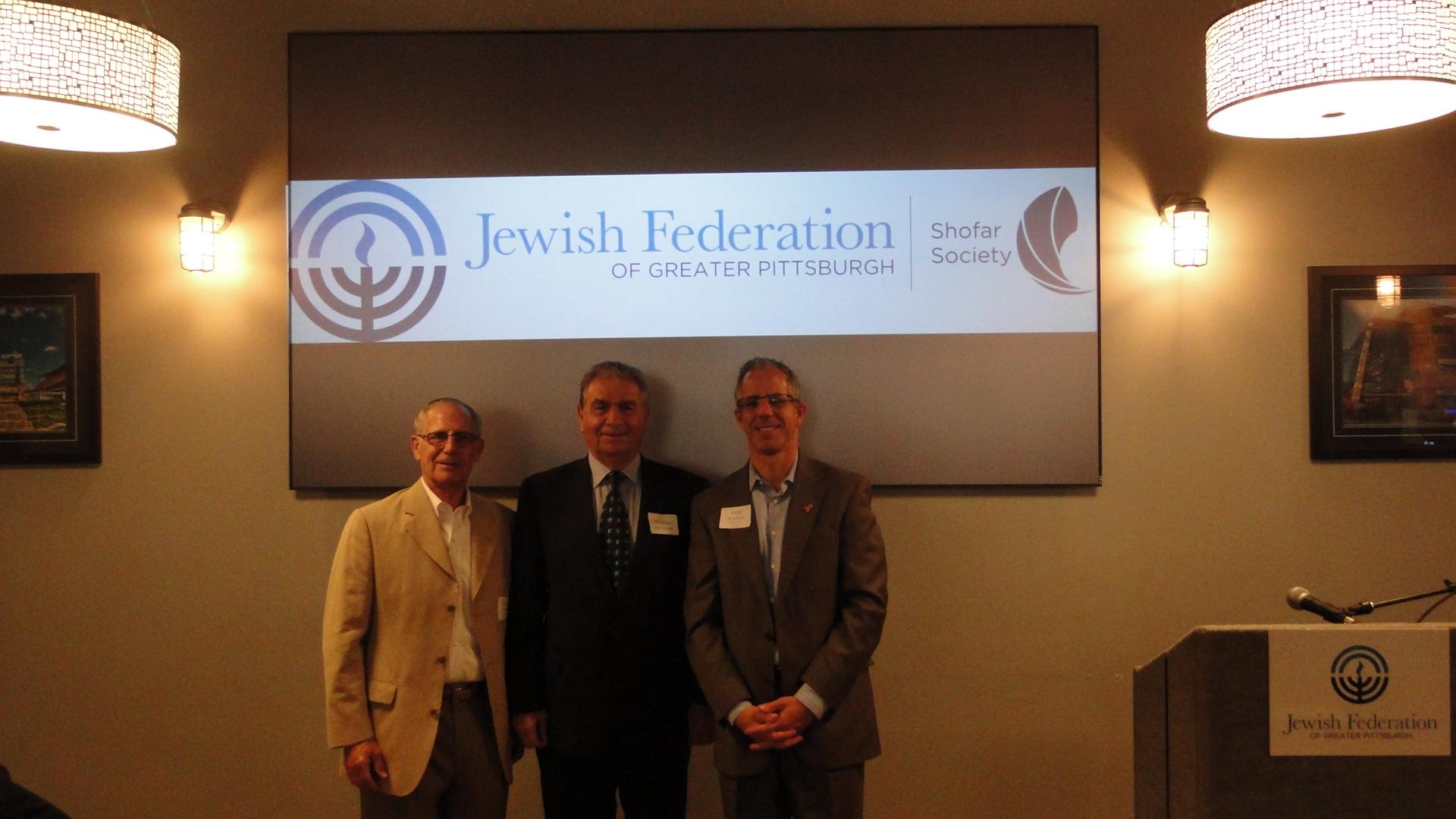 David Steinbach, Shofar Society Chair, with guest speaker Michael Bar-Zohar and Todd Rosenfeld, Shofar Society Co-Chair.
