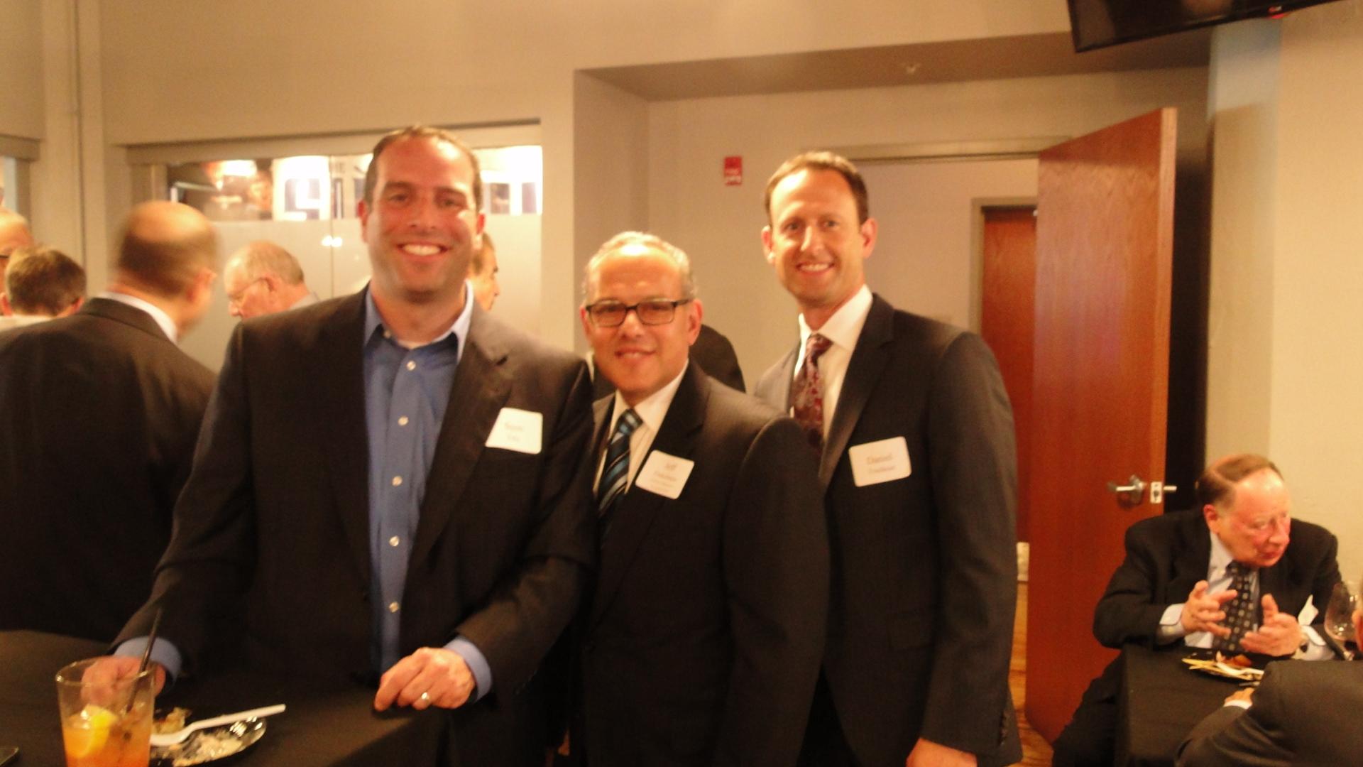 Scott Tobe, Jewish Federation President/CEO Jeff Finkelstein, and Dan Friedman